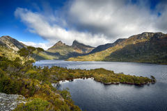 Cradle Mountain from Glacier Rock, Tasmania, Australia. Cradle Mountain and Dove Lake from Glacier Rock, Tasmania, Australia Stock Photo