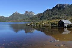 Cradle Mountain-Lake St Clair National Park Tasmania Australia. Landscape view of Dove Lake Boatshed at Cradle Mountain-Lake St Clair National Park Tasmania stock image