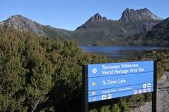 Cradle Mountain-Lake St Clair National Park Tasmania Australia. Direction sign of Cradle Mountain-Lake St Clair National Park that form the Tasmanian Wilderness stock image