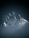 Cradle Mountain Moon. Mountain peak, landscape Royalty Free Stock Image
