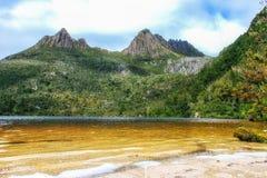 Cradle Mountain. Mountain scenery with Dove Lake in front of massive Cradle Mountain , Australia, Tasmania, Cradle Mountain Lake St. Clair Park stock images
