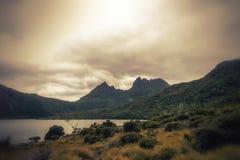 Cradle Mountain. Mountain scenery with Dove Lake in front of massive Cradle Mountain , Australia, Tasmania, Cradle Mountain Lake St. Clair Park stock image
