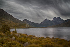 Cradle mountain. Rain over Cradle mountain, Tasmania Stock Photo