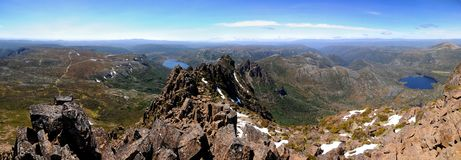 Cradle Mountain Summit Tasmania. Panorama from summit of Cradle Mountain, National Park Tasmania Stock Photos