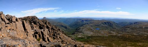 Cradle Mountain Summit Tasmania. Panorama from summit of Cradle Mountain, National Park Tasmania Stock Photography