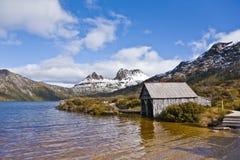 Cradle Mountain in Tasmania. Snow capped Cradle Mountain in Tasmania royalty free stock photo