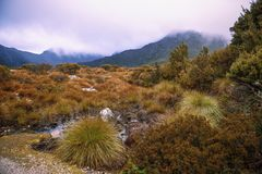 Cradle mountain in Tasmania on a cloudy day. View of a cradle mountain in Tasmania, Australia on a cloudy day stock image