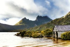 Cradle Mountain Tasmania. Cradle Mountain, Tasmania. Dove Lake with boat house, at sunrise stock images