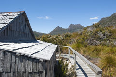 Cradle Mountain Tasmania and historic hut Stock Image