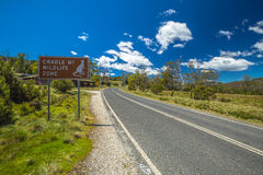 Cradle Mountain Wildlife Zone. Sign, C132, access road to Dove Lake in Cradle Mountain-Lake St Clair National Park, Tasmania, Australia royalty free stock image