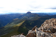 Cradle Mt - The View from Barn Bluff Summit. Top view of Cradle Mt which has been seen from Barn Bluff Summit at Cradle Mountain-Lake St Clair National Park Royalty Free Stock Photos
