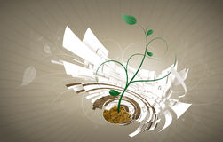 Cradle to Cradle background with abstract floral. Conceptual illustrated background of cradle to cradle building containing organic life and architectural vector illustration