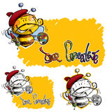 A Craetive Artist Cartoon Bee with Brush and Color Royalty Free Stock Photos