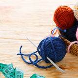 Craft background with ball of yarn Stock Image