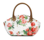 Craft Bag with decoupage. On white background Stock Photography