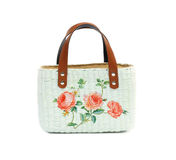 Craft Bag with decoupage. On white background Stock Photos