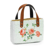 Craft Bag with decoupage. On white background Royalty Free Stock Photography