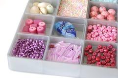 Craft Beads. Closeup shot of a box of craft beads Royalty Free Stock Image