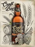 Craft beer ads. Exquisite bottled beer in 3d illustration isolated on retro backgrounds with wheats, hops and barrel in etching shading style stock illustration
