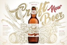 Craft beer ads. Exquisite bottled beer in 3d illustration on retro backgrounds with wheats, hops and barrel in etching shading style royalty free illustration
