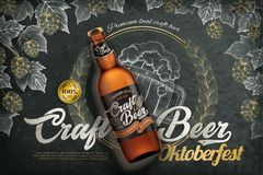 Craft beer ads. Realistic 3d beer bottle with label on engraving style blackboard background, hops and wheat elements royalty free illustration