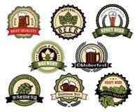 Craft beer, ale, lager alcohol drinks label set. Beer alcohol drink label set. Craft brewery badge with glass of beer, ale or lager, hop branches with green leaf vector illustration