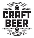 Craft Beer Badge or Label. Craft beer design features wheat or barley wreath and the slogan, Better Beer for a Better World stock illustration