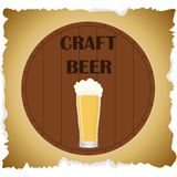 Craft beer. Banner kraft beer. A glass of beer on the background of an oak barrel. royalty free illustration