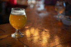 Craft Beer on a Bar. With copy space stock image