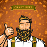 Craft beer. Bearded barmen on the backgrounds with beers elements royalty free illustration