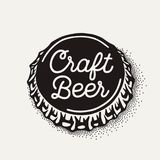 Craft beer bottle cap with brewing inscription in vintage style royalty free stock images
