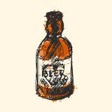 Craft beer bottle pub sketch vector illustration. Stock Illustration