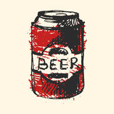 Craft beer bottle pub sketch vector illustration. Stock Images