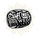 Craft beer, brewed with love - typographic illustration in vintage style, black and white illustration. Retro rustic style symbol, label, badge. Illustration Stock Photo