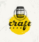 Craft Beer Brewery Artisan Creative Vector Stamp Sign Concept. Rough Handmade Alcohol Banner. Menu Page Design. Element On Stained Background Royalty Free Stock Image