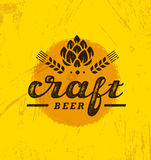 Craft Beer Brewery Artisan Creative Vector Stamp Sign Concept. Rough Handmade Alcohol Banner. Menu Page Design. Element On Stained Background Stock Photo