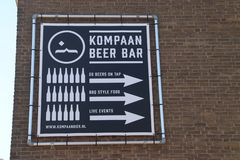 Craft beer brewery and bar Kompaan in indurstrial zone Binckhorst in The Hague known as one of the best in the Netherlands. Craft beer brewery and bar Kompaan stock images