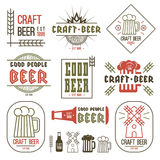Craft beer brewery emblems Royalty Free Stock Image