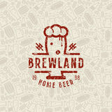 Craft beer brewery seamless pattern and emblem. Color print on light grey pattern background Royalty Free Stock Images