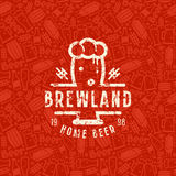 Craft beer brewery seamless pattern and emblem Stock Image