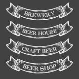 Craft beer brewery shop market emblem ribbon. Monochrome medieval set vintage. Engraving sign isolated on white background. Sketch vector hand drawn Stock Images