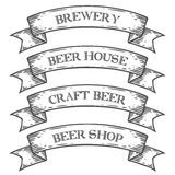 Craft beer brewery shop market emblem ribbon. Monochrome medieval set vintage  Stock Images