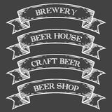 Craft beer brewery shop market emblem ribbon. Monochrome medieval set vintage. Engraving sign isolated on white background. Sketch vector hand drawn Stock Photos