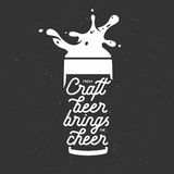Craft beer brings the cheer lettering poster. Chalkboard vector vintage illustration. Stock Photos