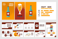 Craft beer company annual report cover A4 sheet and presentation Royalty Free Stock Photo