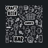 Craft beer elements set. Vector illustration. stock illustration