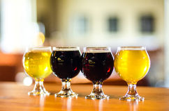 Craft beer flight close-up. Craft beer tasting in Littleton, Denver Colorado Royalty Free Stock Photography
