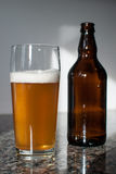 Craft beer glass and beer bottle Stock Photography