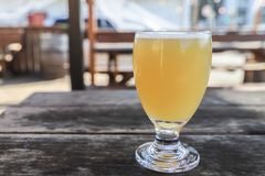 Craft Beer Glass. A Craft Beer from a Local Brewery on a Table stock image