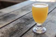 Craft Beer Glass. A Craft Beer from a Local Brewery on a Table royalty free stock photography